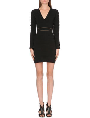 BALMAIN Slash-detail stretch-knit dress