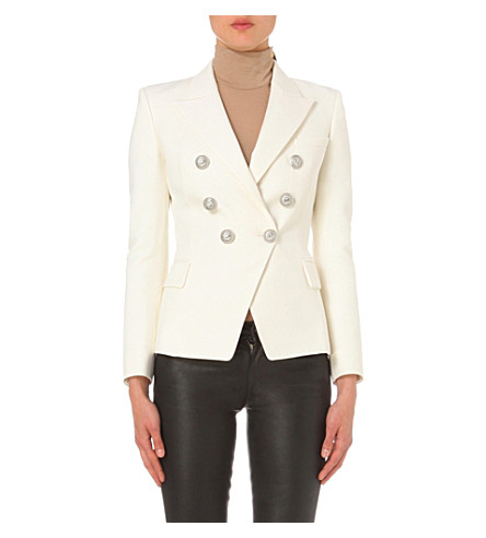 BALMAIN Double-breasted wool jacket (Blanc