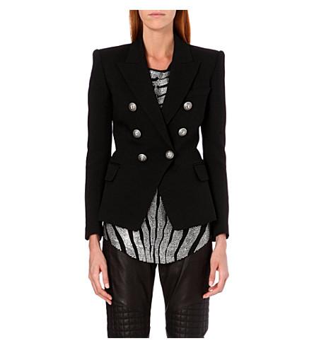 BALMAIN Double-breasted piqué jacket (Black