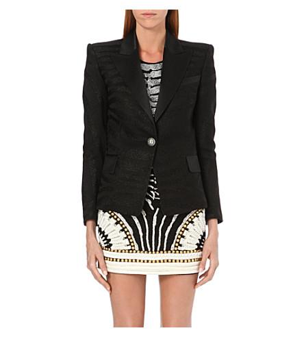 BALMAIN Classic zebra-jacquard blazer (Black
