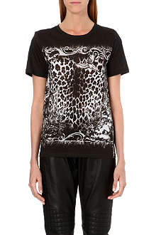 BALMAIN Animal-print jersey t-shirt