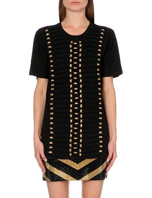 BALMAIN Rope-detail cotton-jersey t-shirt