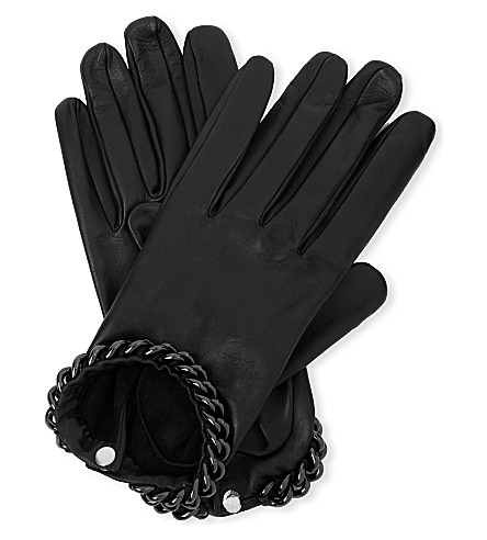 CAUSSE GANTIER Ivanna chain-trim leather gloves (Noir/ruth
