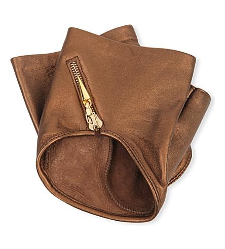 CAUSSE GANTIER Fingerless zipped leather gloves (Bronze