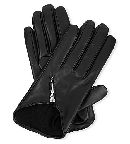 CAUSSE GANTIER Short zipped leather gloves (Noir/pall