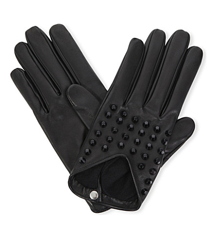 CAUSSE GANTIER Studded leather gloves (Noir