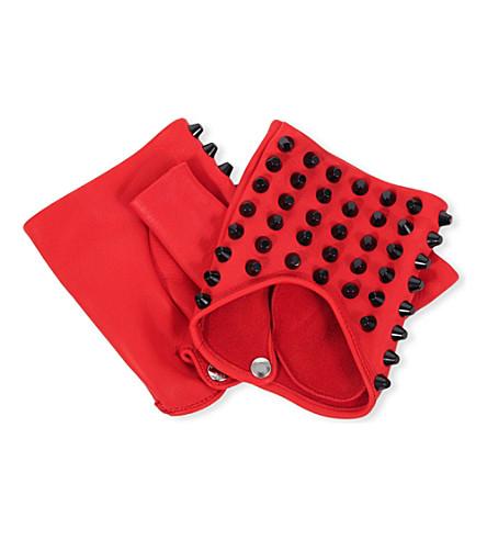 CAUSSE GANTIER Fingerless stud-detail leather gloves (Red