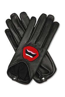 CAUSSE GANTIER Lip-appliqué leather gloves