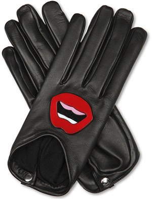 CAUSSE GANTIER Lip-appliqué leather gloves