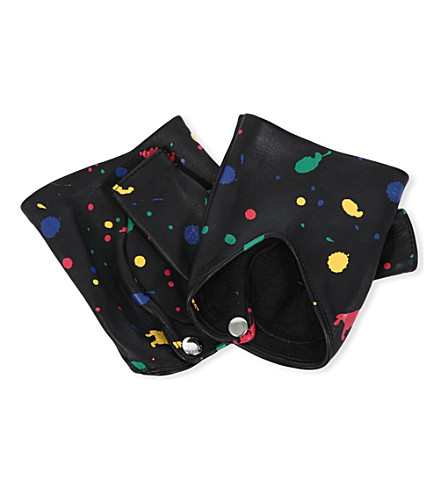 CAUSSE GANTIER Fingerless paint-detail leather gloves (Noir