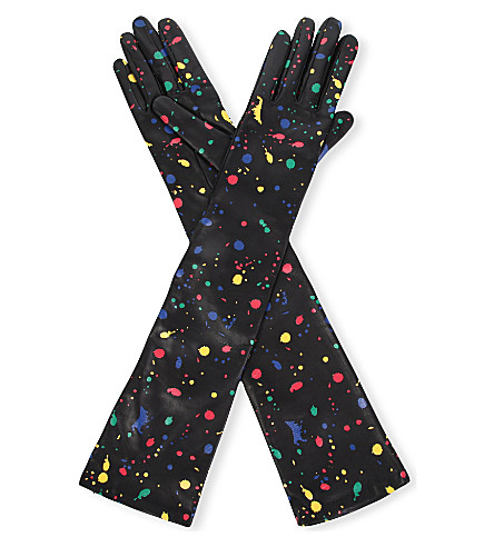 CAUSSE GANTIER Long leather paint-detail gloves (Noir