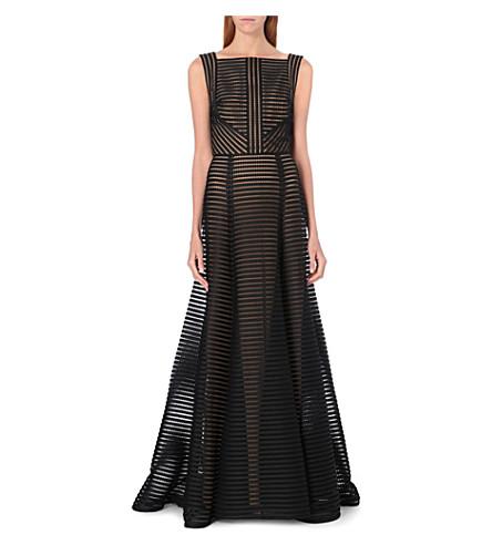 ELIE SAAB Sheer stripe long-length gown (Black