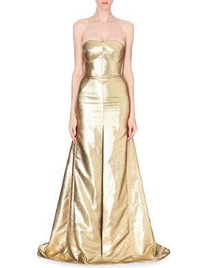 ANTONIO BERARDI Metallic-jacquard strapless gown
