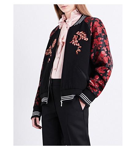 RODARTE Los Angeles wool and silk-blend bomber jacket (Red/black