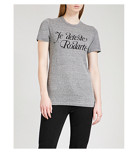 RODARTE Love/Hate stretch-jersey T-shirt (Heather+grey