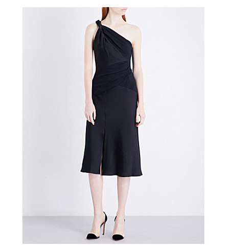VERSACE One-shoulder ruched crepe dress (Navy