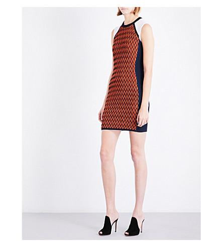 VERSACE Contrast-panel knitted mini dress (Navy+-+orange+-+white