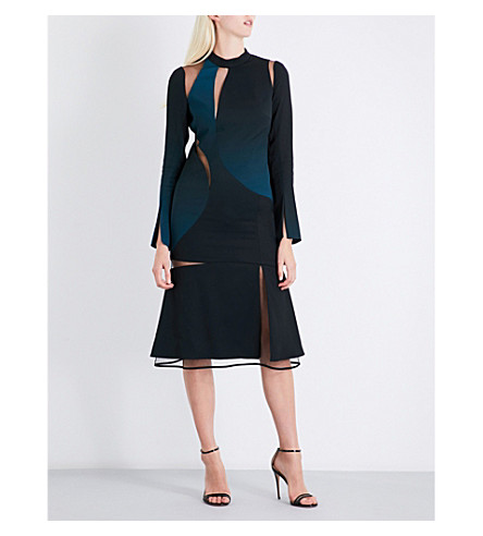 VERSACE Cutout satin dress (Nero-ottanio