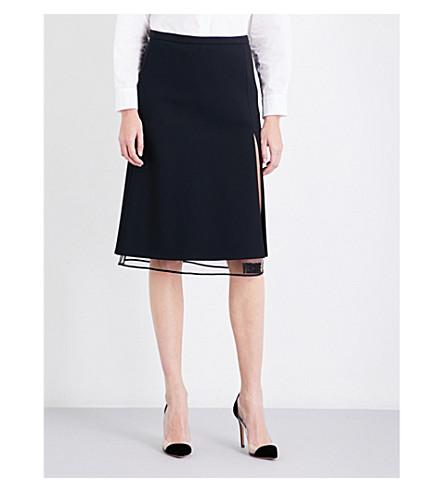 VERSACE Logo-embroidered gabardine skirt (Nero