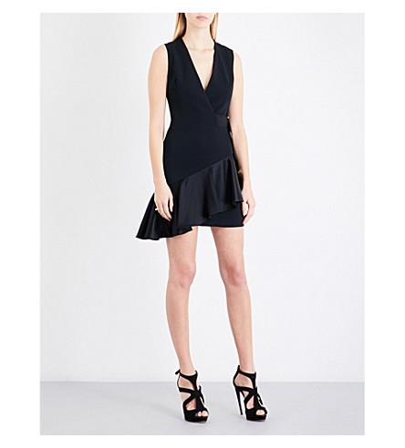DAVID KOMA Buckle-detail cady dress (Black