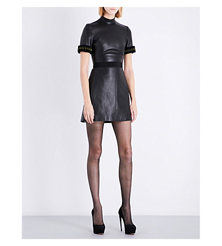 DAVID KOMA Grosgrain-trim fitted leather mini dress (Black
