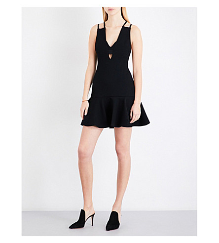 DAVID KOMA Ruffled-hem wool-blend dress (Black