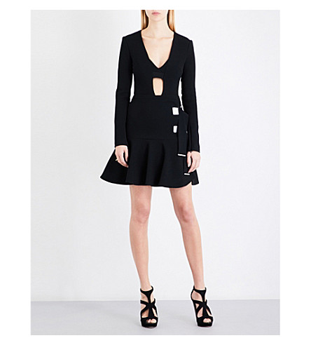 DAVID KOMA Buckle-detail wool-blend dress (Black