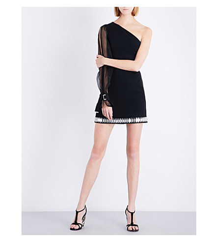 DAVID KOMA One-shoulder embellished fitted jersey mini dress (Black