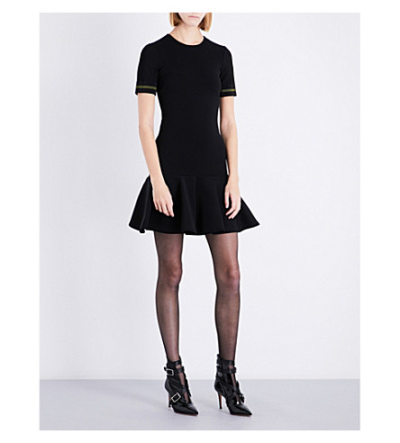 DAVID KOMA Flared-hem stretch-jersey dress (Black/green