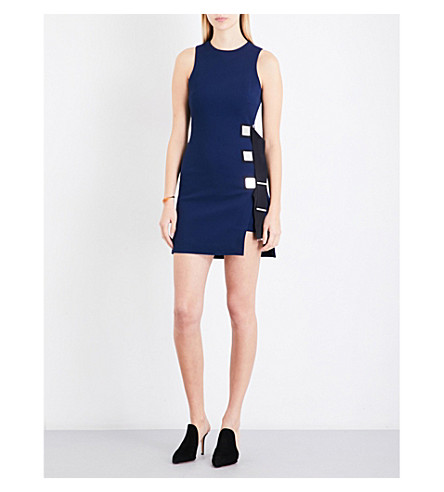 DAVID KOMA Buckle-detail cady dress (Navy