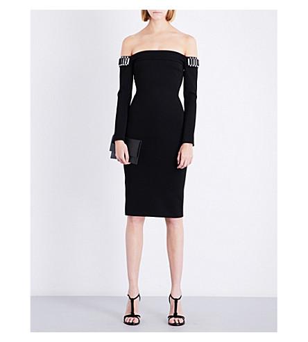 DAVID KOMA Off-the-shoulder embellished fitted jersey dress (Black