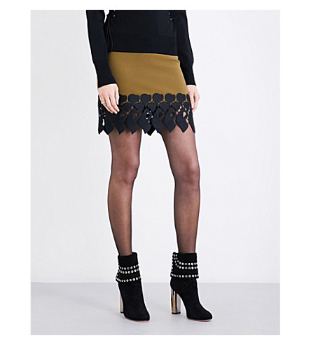 DAVID KOMA Lace-panelled wool-blend skirt (Olive/black