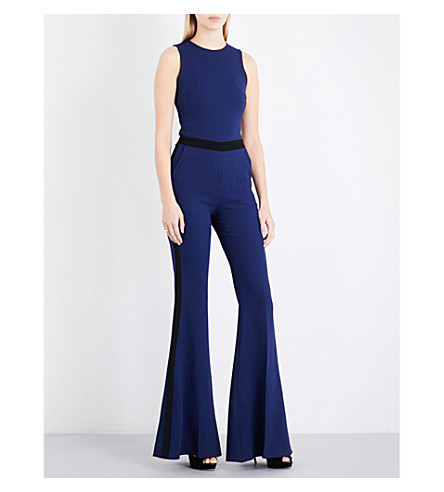 DAVID KOMA Flared wool-blend jumpsuit (Navy/black