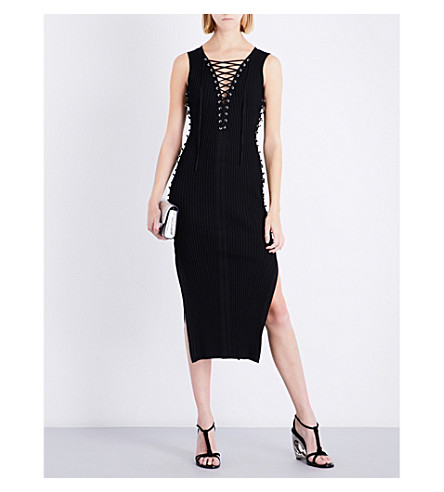 DAVID KOMA Lace-up sleeveless knitted midi dress (Black