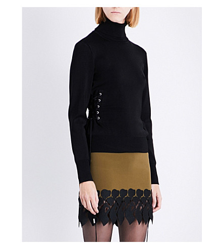 DAVID KOMA Lace-up detail turtleneck jersey top (Black