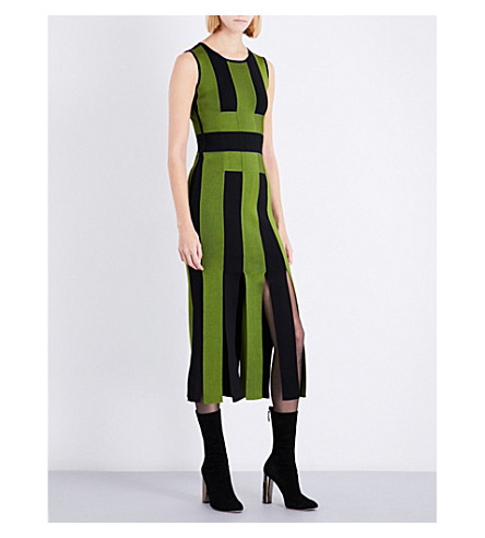 DAVID KOMA Striped split-hem fitted woven maxi dress (Green/black