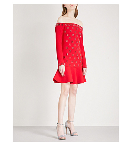 DAVID KOMA Off-the-shoulder embellished wool-blend mini dress (Red