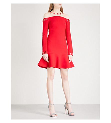 DAVID KOMA Mesh-yoke embellished wool-blend mini dress (Red