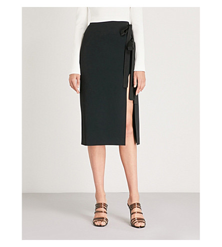 DAVID KOMA Side-split cady midi skirt (Black