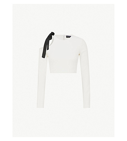 DAVID KOMA Bow-motif cold-shoulder cady top (Black+white