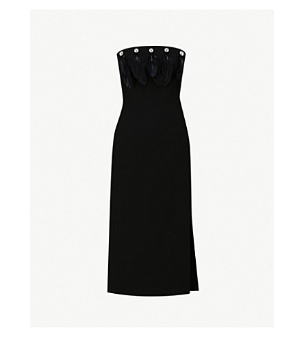 DAVID KOMA Feather-embellished cady dress (Black