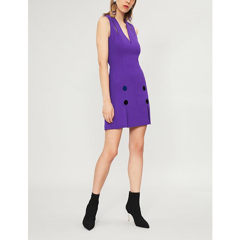 DAVID KOMA Cutout wool-blend mini dress