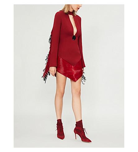 DAVID KOMA Fringed wool-blend and shearling dress (Burgundy