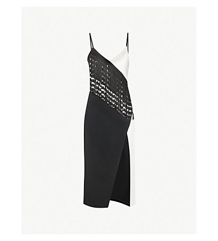 DAVID KOMA Fringed-trim crepe midi dress (Black+white