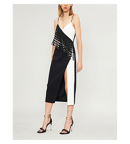 DAVID KOMA Fringed-trim crepe midi dress (Black+white