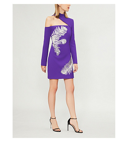 DAVID KOMA Feather-print wool-blend mini dress (Purple+silver