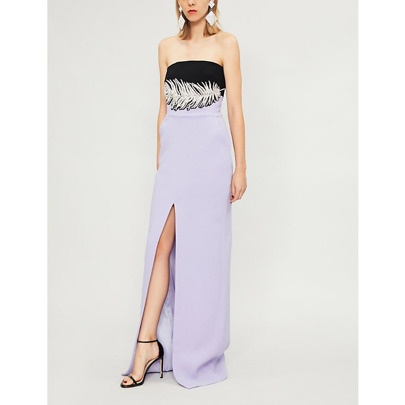 DAVID KOMA Diamanté-embellished wool-blend dress