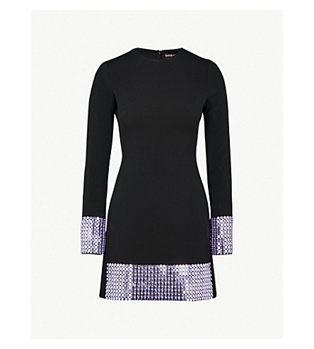 DAVID KOMA Crystal-embellished crepe mini dress (Black