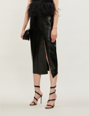 Patent cotton-blend midi skirt