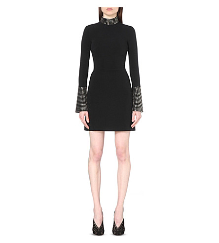 DAVID KOMA Studded stretch-crepe dress (Blacksilver